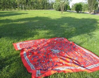 Coral red square tablecloth Anatolian Grass Lawn Picnic Park Beach Yard Camp Yoga cloth Turkish traditional Ottoman tile print souvenir