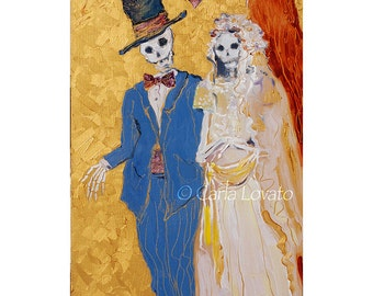 Skeleton wedding, Original painting, Day of the Dead, skeleton bride, wall art, oil painting, gothic wedding, Halloween decor,