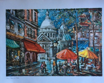 Large Vintage French Prints of Paris and Sacre Coeur by G Leon