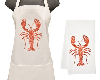 lobster apron and towel set
