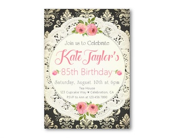 90 year old invite etsy womens birthday invitations 85th birthday surprise party for adults birthday dinner brunch filmwisefo Choice Image