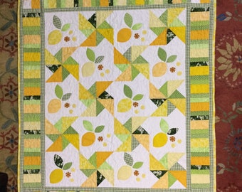 Lemon quilt throw or wall hanging quilted appliqued wall art that is bright and cheerful for spring or summer  #305