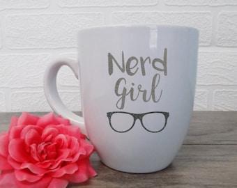 Nerd Coffee Mug, Nerd Girl, Nerdy Girl Gifts, Talk Nerdy to Me, Geeky Girlfriend Gift, Coffee Mug,