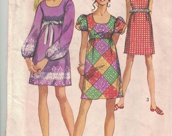 Simplicity 8639 Vintage Pattern Womens Mini Dress in 3 Variations Size 13/14 Bust 33.5
