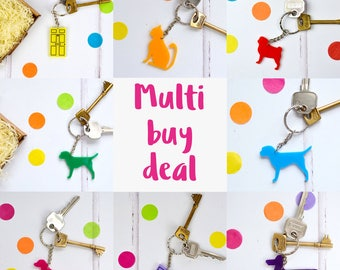 Multi buy deal - set of keyrings - key ring - key chains - housewarming gift - new home gift - acrylic keyrings - dog key ring - cat gift