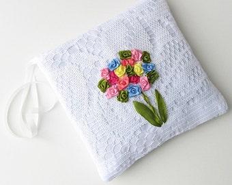 Flower bouquet lavender sachet, silk ribbon embroidery sachet, white cotton and lace scented sachet