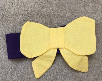 Decorative greyhound bow - yellow with black neckband -  Free Shipping