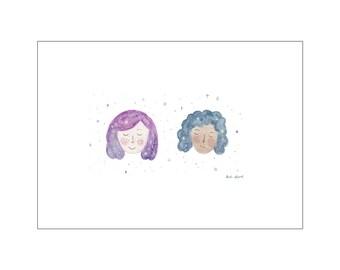 Space Girls print, various sizes