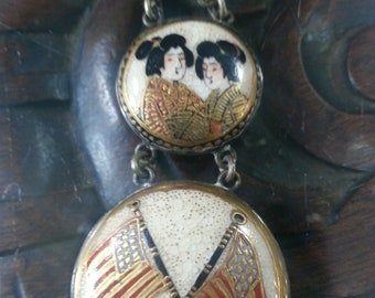 Japanese Satsuma Four Panel Porcelain Watch Chain with American Flags, circa 1940's