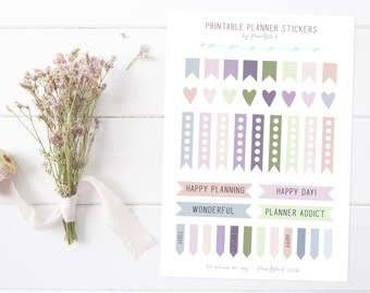 Printable DIY Planner Stickers - Pastel, Hearts, Banners, Flags, Words