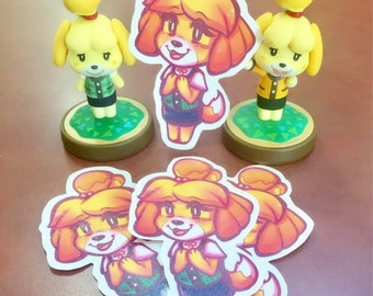 Isabelle Animal Crossing New Leaf Handcut Sticker With Glitter