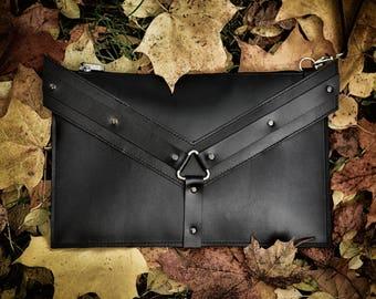 Black Leather Clutch Handmade Natural Leather Clutch Bag With Edgy Details Designer Handbag Statement Bag