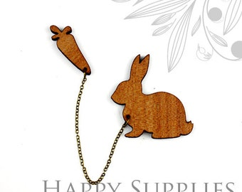 2 sets (BR009) DIY Laser Cut Rabbit with Carrot Brooch (Not Finished Product)