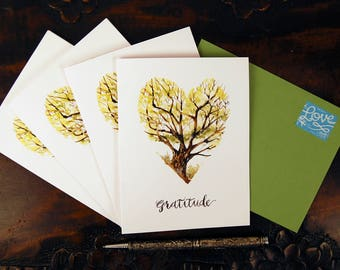 Gratitude Cards, Watercolor, Appreciation, Thankful