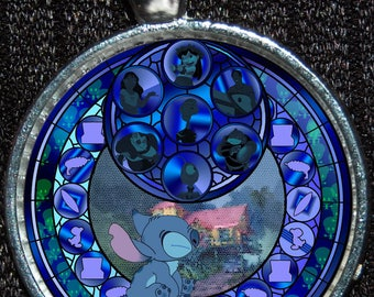 Disney Lilo & Stitch Stained Glass Stained Glass Silver Pendant Necklace Jewelry