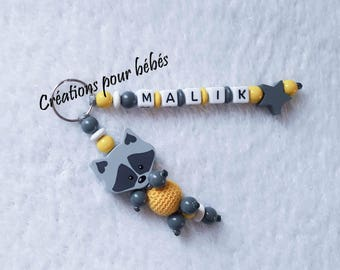 """Keychain 3D """"Raccoon"""" with wooden beads with the name of your choice"""