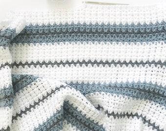 Modern Double Crochet V-Stitch Blanket Pattern