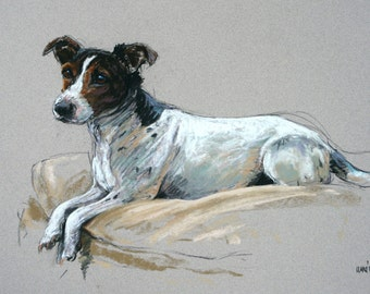 Jack Russell Terrier dog gift dog art dog print LE fine art print from an original soft pastel available unmounted or mounted ready to frame