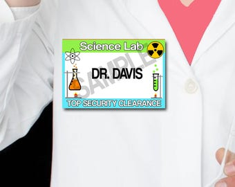 Scientist Name Tags, Science Party Tags, Digital, Instant Download, SET of 10, Science Lab Party Lime Green Blue