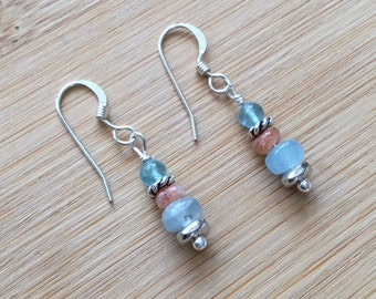 Sunstone, Apatite, and Aquamarine Earrings, Petite Sterling Silver Drop Earrings, Aquamarine Jewelry, Gemstone Earrings, Sunstone Jewelry
