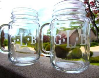 5 Mason Jar Mugs - Personalized Customized Mason Jar