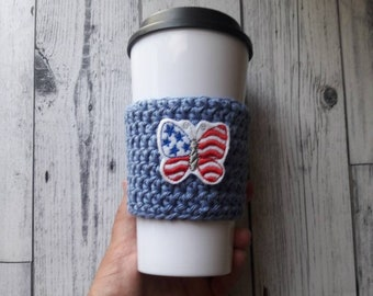 Red white and blue butterfly cozy, party favor gift, 4th of July, Independence day, veteran gift, 4th of July gift, eco friendly gift