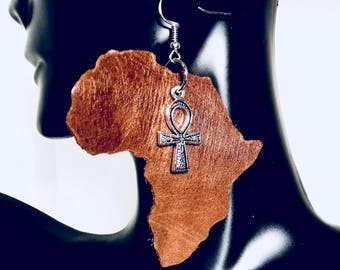 Afrocentric Genuine Leather Africa and Ankh Statement Earrings