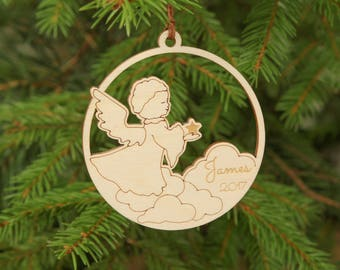 Personalized Christmas ornament, Baby ornament, First Christmas ornament, Unique  ornaments, Gift, Laser cut, Angel ornament, Children gift