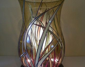 Large Stained Glass Urn Table Lamp