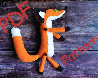 Little Prince Fox stuff fox toy plush Pdf sewing PATTERN Le Petit Prince Fox Stuffed Animal Orange Fox plush toy pattern FREE SHIPPING  \
