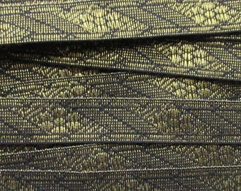 3 Yards Fancy Gold And Black Metallic Sewing Trim Ribbon Passamenterie VT 38