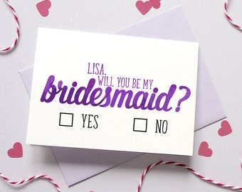 Will You Be My Bridesmaid/Best Man Card – Personalised Bridesmaid Maid of Honour Card – Flower Girl – Wedding planning - bachelorette