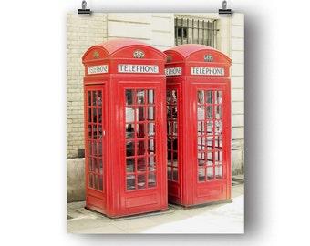 London Photography, Wall Art, Photography Print, Phone Booth, Red Decor, Phone Box, British Decor, Vertical Art, London Photo, 8 x 10 Print