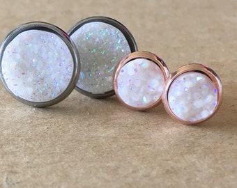 White Druzy Earrings, White Faux Druzy Stud Earrings, Druzy Earrings, 8mm White Druzy Earrings, Druzy Leverback Earrings
