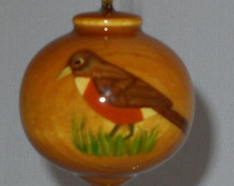 Personalized Robin Redbreast Ornament, American Robin Ornament, PWB-48