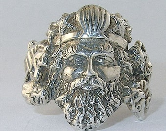 Sterling Silver  King Neptune Ring with Free Shipping