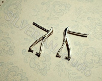 2pcs Sterling SILVER earring posts for swarovski crystals   17mm earring beads ear stud jewelry findings soldering do you own jewelry