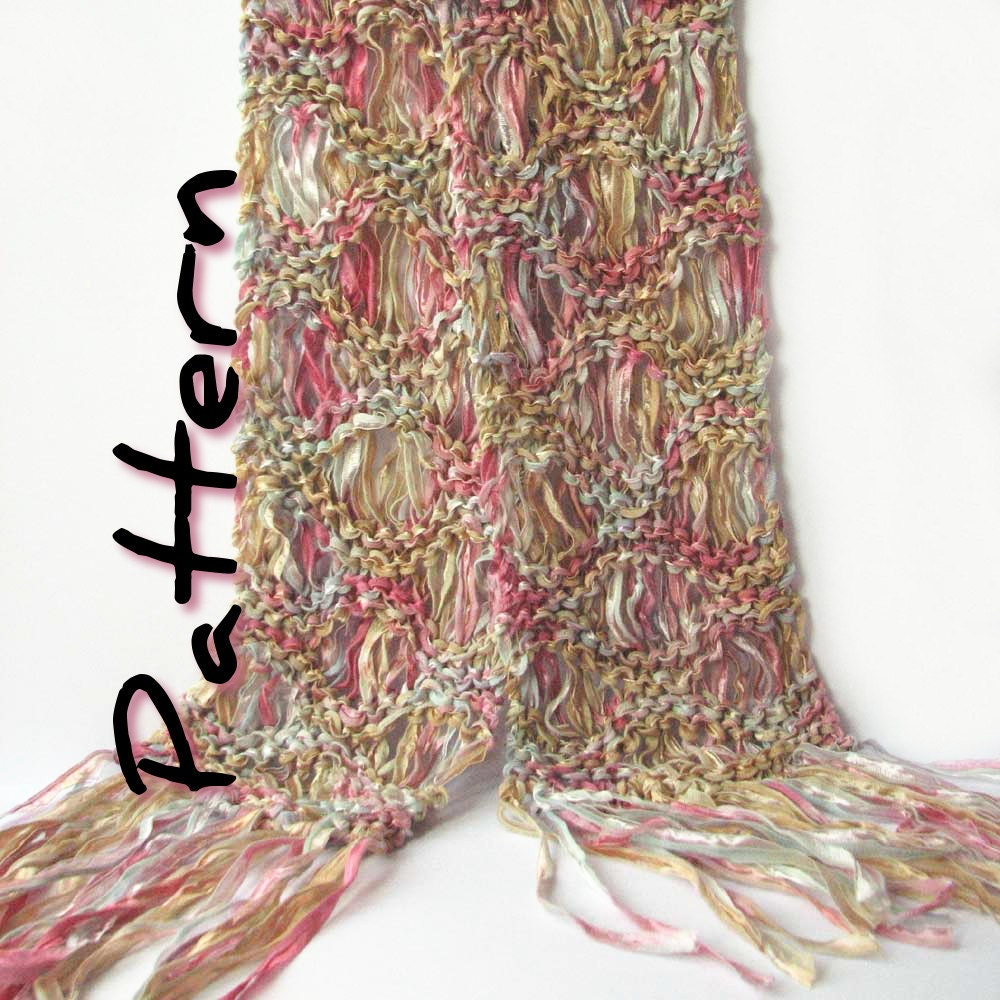 Easy knit scarf printable pattern pdf, Ripple scarf, drop stitch ...