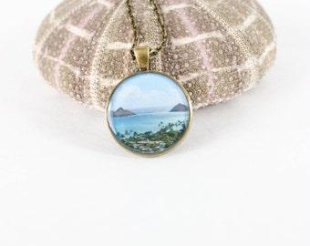 Hawaii Necklace - Mokulua Islands Necklace - Ocean Necklace - Picture Necklace -Hawaii Beach Photo Necklace