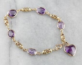 Amethyst Filigree Link Bracelet, Layering Bracelet, Stacking Bracelet X8991V-R