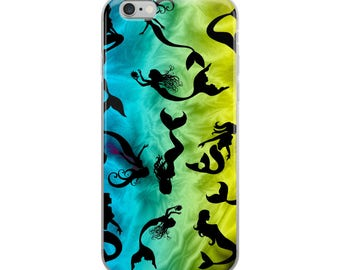 All Over Mermaid Mermaids on Blue Green Yellow Cell Phone Case iPhone Case 6 Plus, 6/6s, 7 Plus, 8 Plus, X