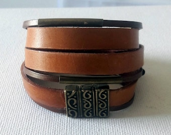 Womens Boho Brown leather wrap bracelet with copper color magnetic ornament closure and copper tubes