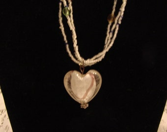 Puffy Glass Heart Pendant Necklace With Beaded Seed Beads