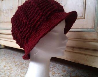 Women's crochet wool hat in Bordeaux plum with elegant visor-Christmas gift-