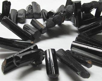 Tourmaline Beads 30mm - 10mm X 7mm Natural Opaque Lustrous Black Prismatic Shards - 8 Pieces