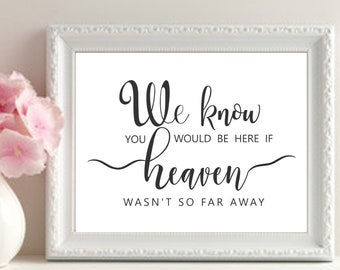 Memory Table Printable, If Heaven Wasn't So Far Away, Memory Table Wedding Sign, Black and White Wedding Sign, Instant Download