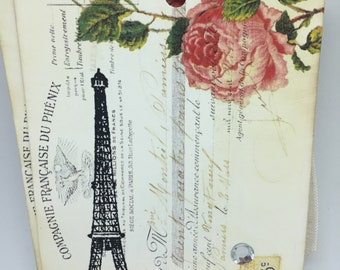 Gift Tags Eiffel Tower Roses French Script Tags Old World Decor French Style Decor Cottage Chic Decor Gift Wrap Embellishment