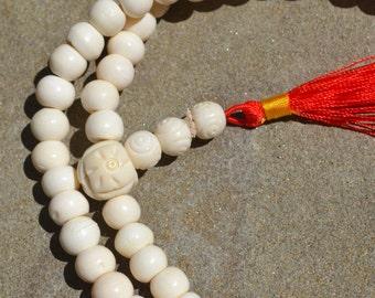 108 bead Buddhist prayer mala in bone M221