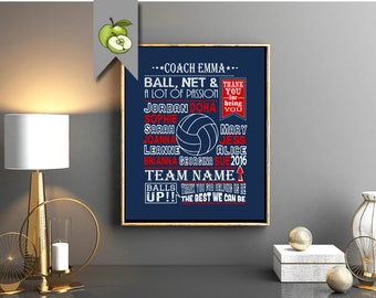 volleyball coach gift, coach Appreciation, volleyball team gift, volleyball printable, volleyball art print, coach Leaving, retirement