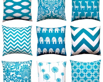 Turquoise Pillow, Decorative Throw Pillow Covers, Accent Pillows, Cushion Covers 16  x16 Inches Turquoise Teal Nursery Decor